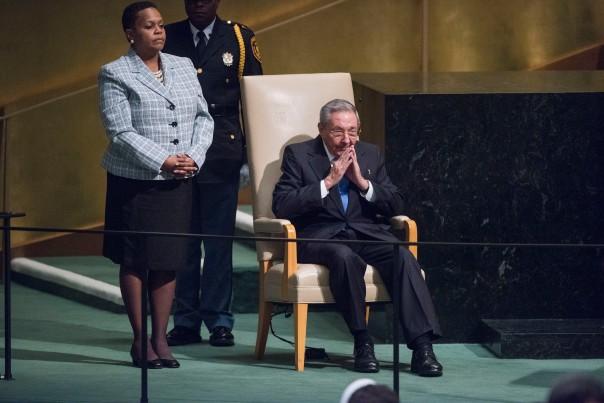 28 de septiembre 2015, Naciones Unidas, Raúl Castro justo antes de su intervención en el debate general de la sesión septuagésima de la Asamblea General de la ONU. Foto UN/ Amanda Voisard